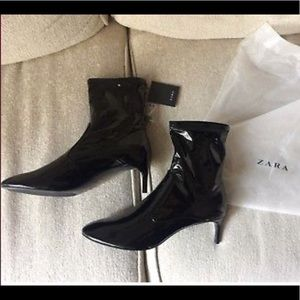 Boots Black high heel Faux Patent Ankle boots